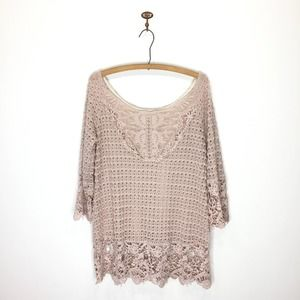 Umgee blush pink sheer lace crochet tunic shirt M